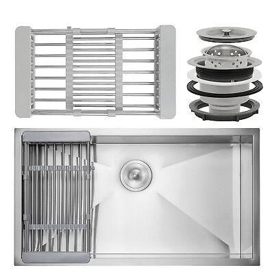"""32"""" x 18"""" x 9"""" Undermount Handmade Stainless Steel Single Bowl Kitchen Sink"""