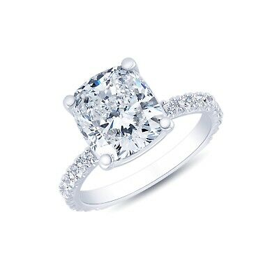 Conflict Free 1.70 Ct Cushion Cut Diamond Pave Engagement Ring GIA G,VS2 14K WG 6