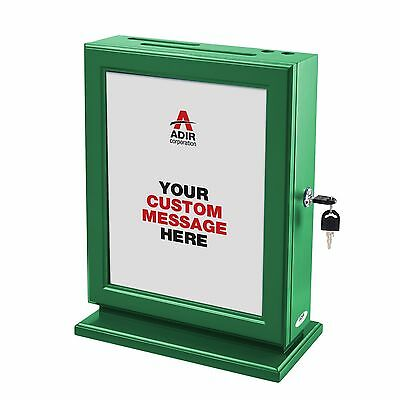 Adir Customizable Wood Suggestion Box Donation Charity Box Green W Refill Cards