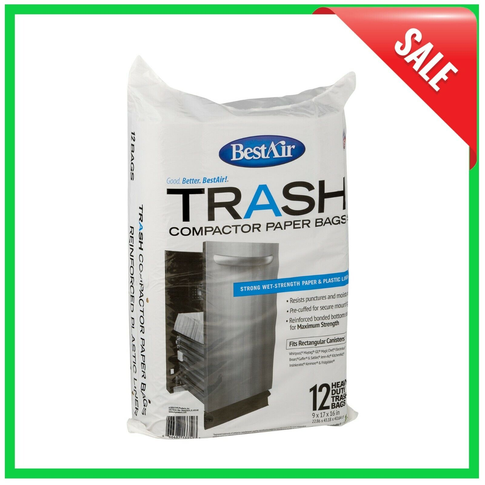 BestAir Trash Compactor Bags -12 Bags, Strong Wet-Strength P