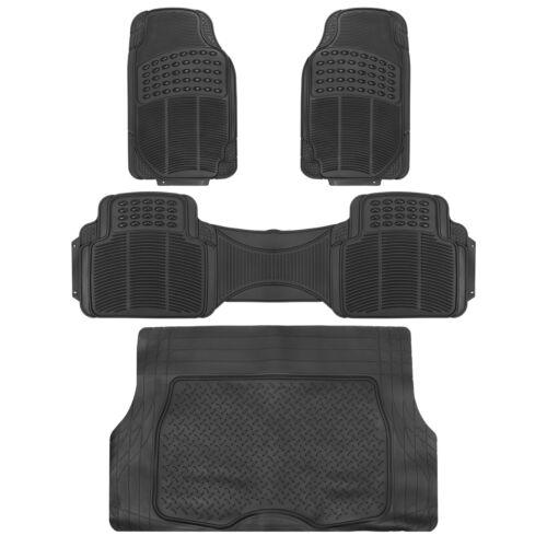 Car Floor Mats Set 4pc Black Rubber Tortoise Liners Cargo for Auto Trucks SUV Car & Truck Parts