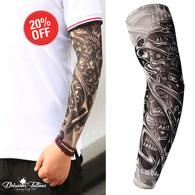 Tribal Tattoo Sleeves (Temporary Tattoo Sleeve Nylon Arm Warmer Skull 3D Halloween Tribal Mens Women's)