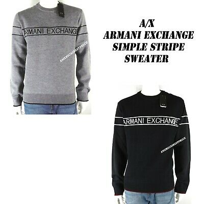 A X ARMANI EXCHANGE NEW MENS SIMPLE STRIPE LOGO CREWNECK SWEATER  NWT (Armani Exchange Sweater Men)