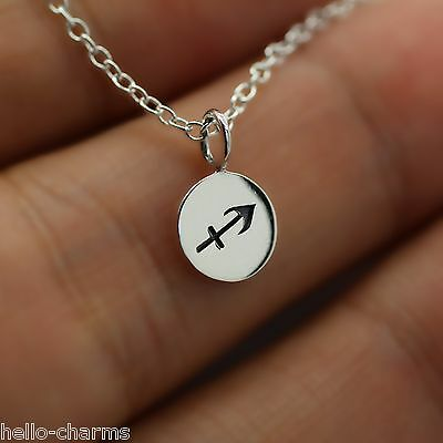 Sagittarius Necklace   925 Sterling Silver   Tiny Horoscope Zodiac Charm Jewelry