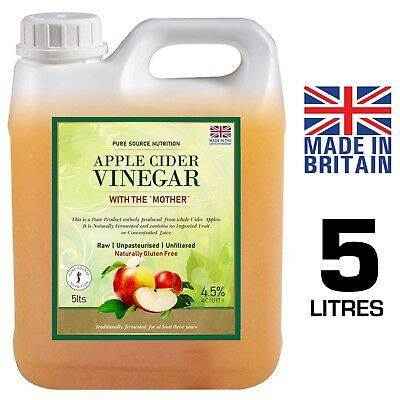 PURE RAW Apple Cider Vinegar with Mother 5 L Applecider Weight Loss Detox
