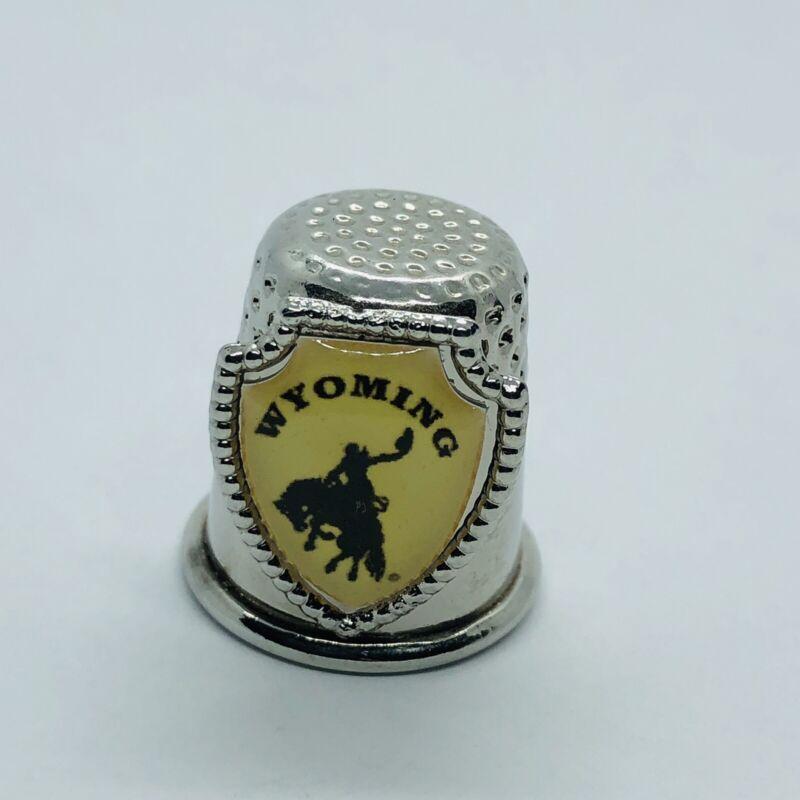 Wyoming Souvenir State Silver Tone Metal Thimble w/ Horse & Cowboy