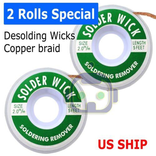 2X Rolls 2mm x5ft Desoldering Braid Wick Solder Remover w/ No Residue Rosin Flux
