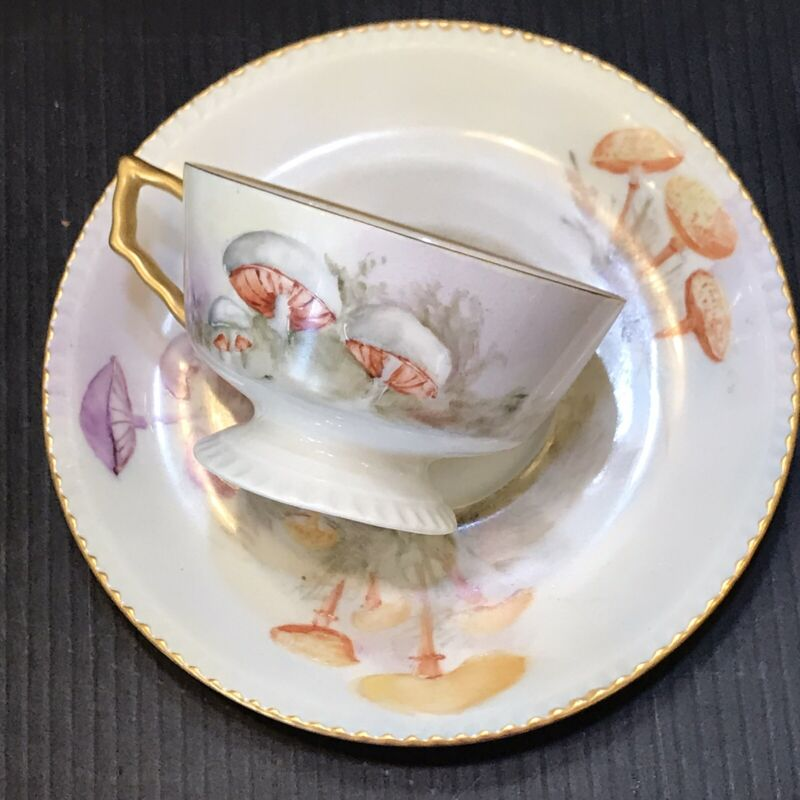 Limoges Tea Cup And Saicer 19th Century Aesthetic Movement Mushrooms Unbranded