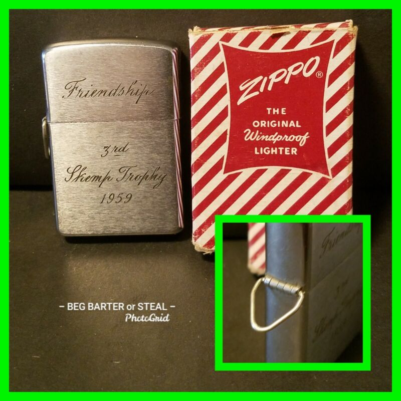 Vintage Zippo Loss Proof Lossproof Never Loose Lighter Sailing Trophy 1959 & Box