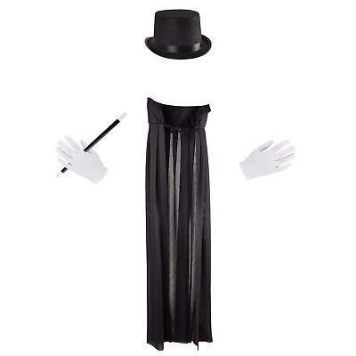 Kids Magician Costume Dress Up Magic Set Hat Gloves Cape Wand Pretend Play