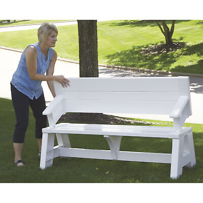 5ft. White Outdoor Convert-a-Bench Seat Convert To Picnic Table Resin Vinyl Fold Convertible Picnic Table Bench