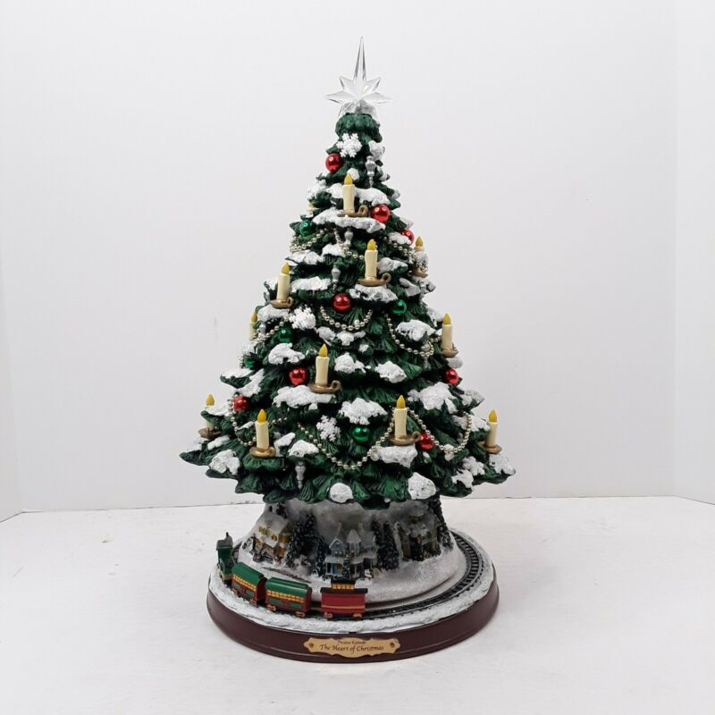 The Heart of Christmas Tree Thomas Kinkade Bradford Exchange Rotating Train