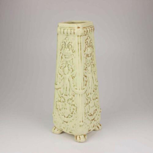 Weller Pottery Large Clinton Ivory Vase, Angels