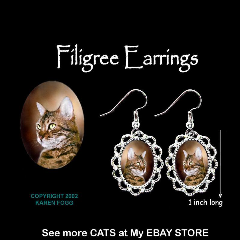 BENGAL STRIPED SHORTHAIR  CAT - SILVER FILIGREE EARRINGS Jewelry
