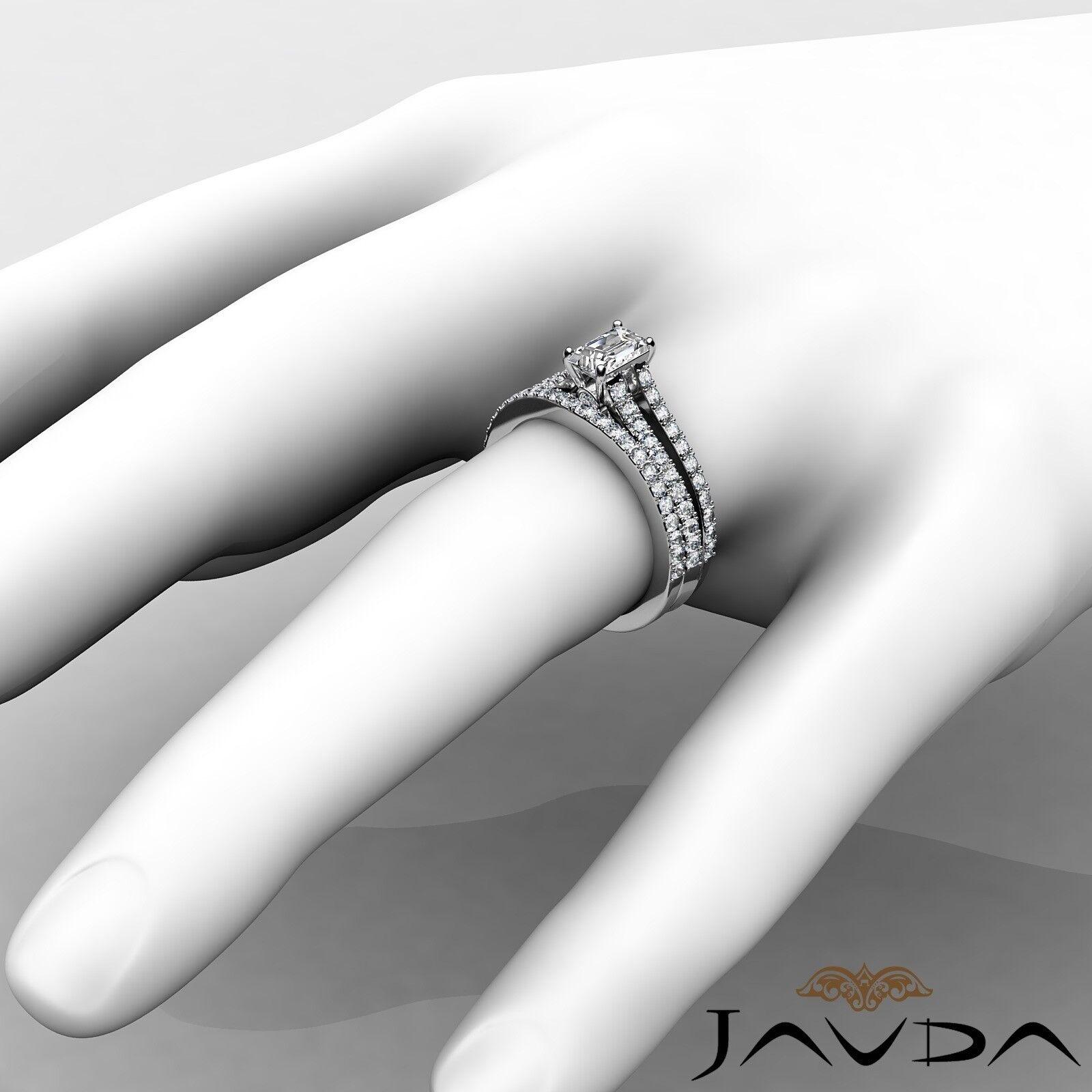 1.51ctw Split Shank Bezel Bridal Set Emerald Diamond Engagement Ring GIA E-VVS1 4