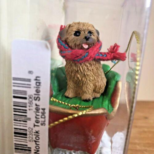 Norfolk Terrier Christmas Ornament Sleigh Brown Dog New Gift