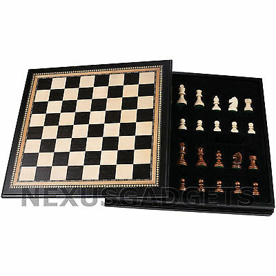 Chess 18 INCH LARGE Board Game Set BLACK Wood Wooden Inlaid Lift Up Pieces Tray - Chess Pieces Set Up