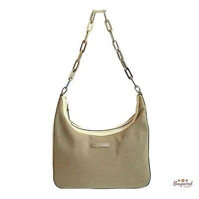 Authentic Gucci Vintage Brown Canvas Cream Leather Chain Shoulder Bag 001 3873