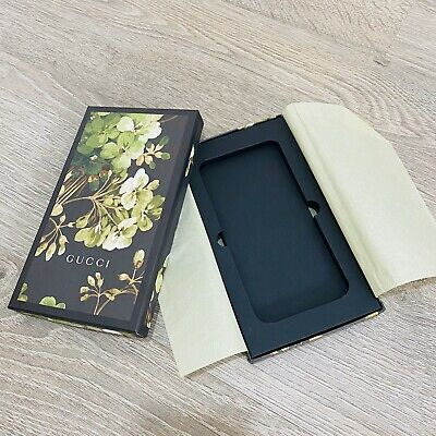 Auth GUCCI Floral Printed Black Small Wallet Purse iPhone Case Cover Gift Box