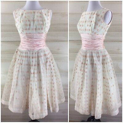 Vintage 50s ivory pink flocked full skirt party dress boat neck ruched XS S](Pink 50s Dress)