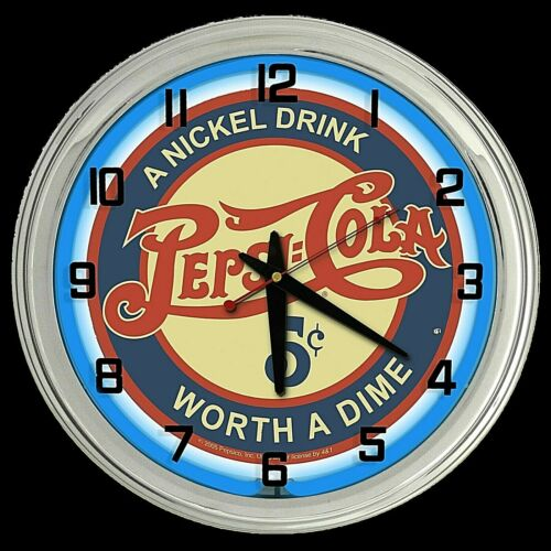 "16"" Pepsi Cola Nickel Drink Worth Worth a Dime Sign Blue Neon Clock"