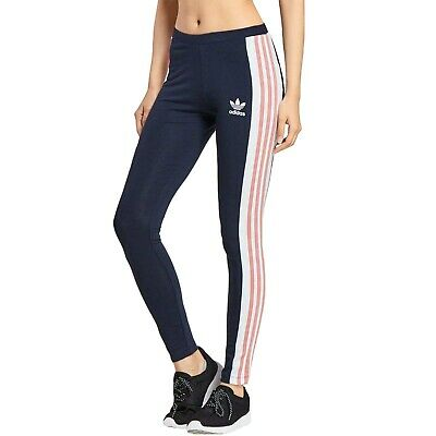 adidas Originals Womens Taoe Tape Elasticated Active Gym Pants Leggings - Navy