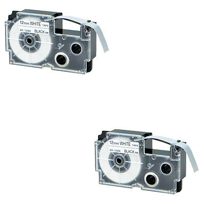 2pk Compatible With Casio Xr-12we Black On White Label Tape For Ez Kl-60 12mm