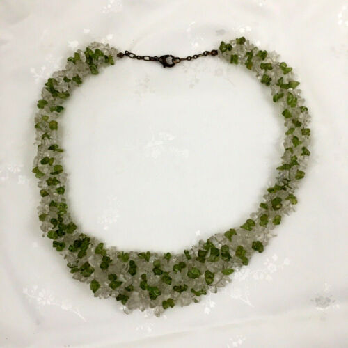 Green Peridot Gemstone Chip Necklace with clasp