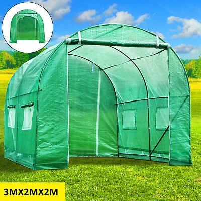 3M X 2M Fully Galvanised Steel Frame Greenhouse Cultivation Run Polly Tunnel