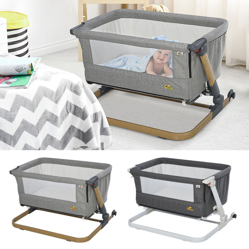 Baby Bassinet Foldable Adjustable Grey 0-5 months Artificial Cotton Breathable