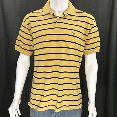 Tommy Hilfiger Vintage 90's Yellow Blue Striped Flag Logo SS Polo Shirt Medium Blue Flag Yellow Stripe