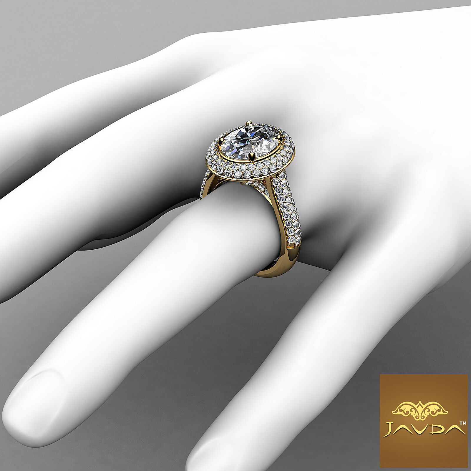 3 Row Shank Double Halo Oval Diamond Engagement Prong Setting Ring GIA F VS1 3Ct 8