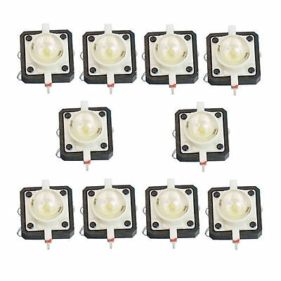 10 X Led Tactile Push Button Switch Momentary Tact 12x12 4pin Round Cap White