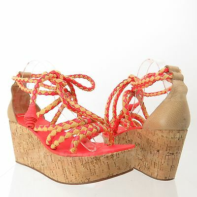 Tory Burch Petra Women's Orange Cork Platform Wedge Sandals 10 M NEW! RTL $375