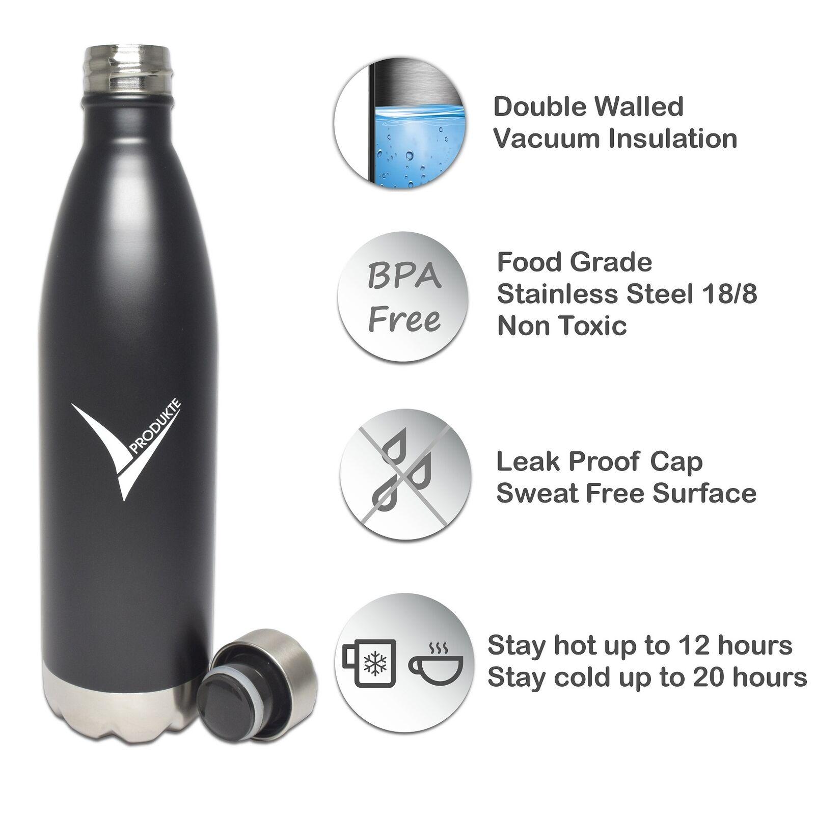 Edelstahl Trinkflasche Isolierflasche Thermoflasche Wasserflasche 750 ml schwarz