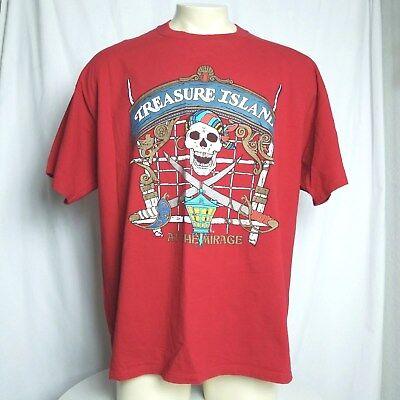 Treasure Island At The Mirage Casino Pirate Skull Red T-shirt XXL 2XL Vintage