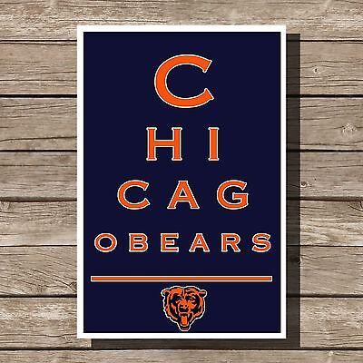 Chicago Bears Art Football NFL Eyechart Poster Man Cave Decor 12x16