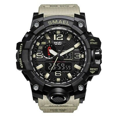 Men's Military Sport Wrist Watch Quartz Dual Movement with Analog Digital SMAEL