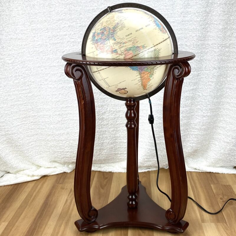 "Vintage FUCASHUN World Globe in Wood Floor Stand 13"" Diameter, 32"" Tall Lighted"