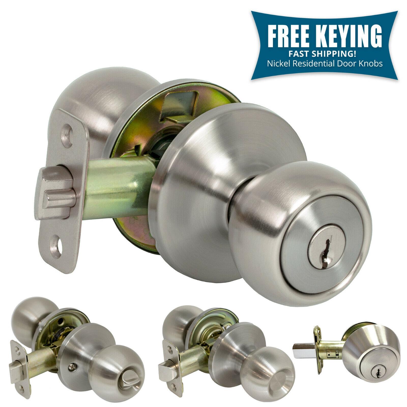 Pro-Grade Round Ball Door Knob Keyed Entry Home Hardware, Satin Nickel Building & Hardware