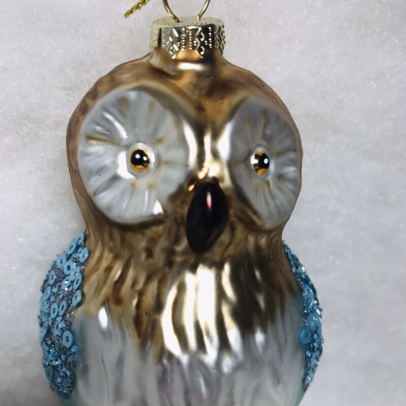 Owl Christmas Tree Ornament, perched, Glitter, Sequins, Mica, Blue, Brown. Glass
