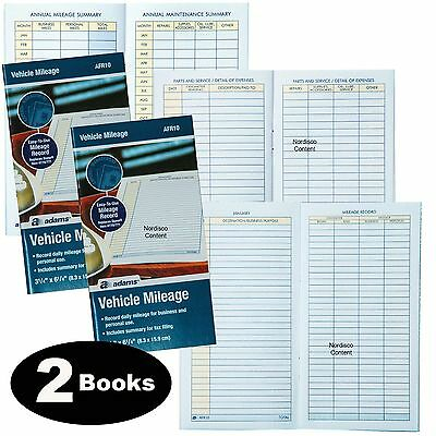 2 Each Adams Afr10 Vehicle Mileage Log Book With Parts Service Section