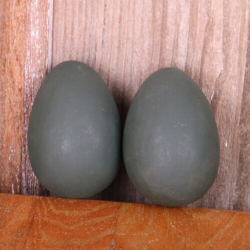 2 Vintage Gray Resin Eggs