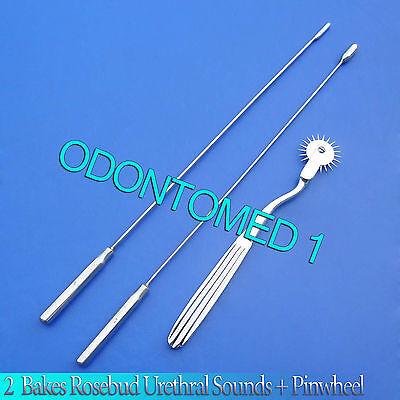 2 Pcs Bakes Rosebud Urethral Sounds 4mm 7mm Pinwheel