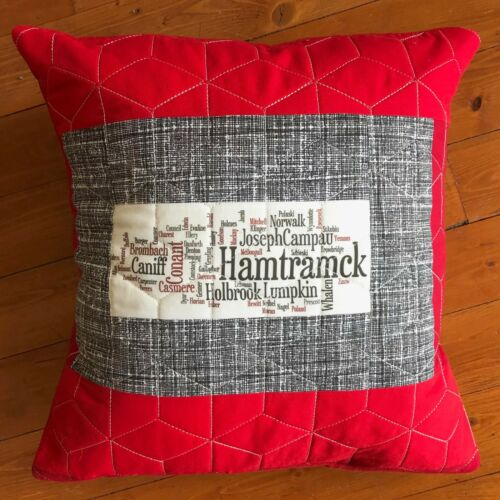 Hamtramck Streets Square Quilted Throw Pillow 16 x 16 Michigan Brand New