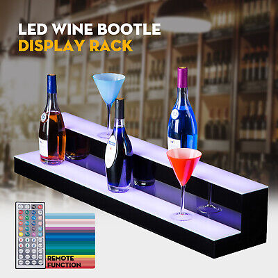 40 2 Step Tier Led Lighted Back Bar Glowing Liquor Bottle Display Shelf Stand