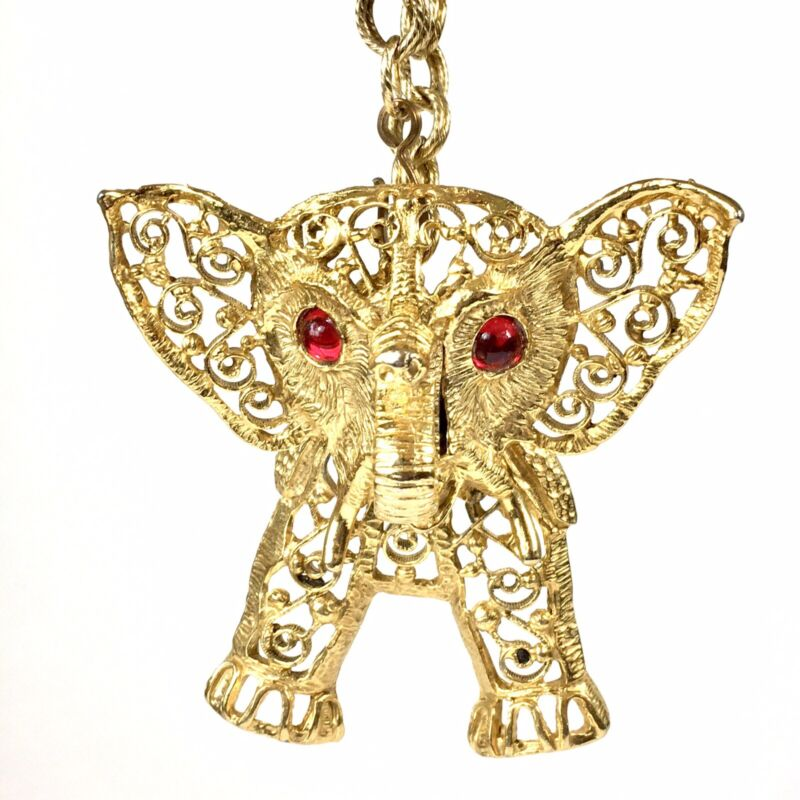 LARGE Mid Century Lucky ELEPHANT Gold-Tone STATEMENT NECKLACE w Hinged Head 24""