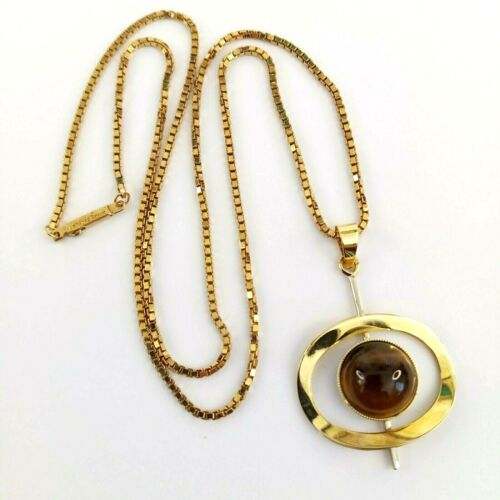 Vintage Danish Modern Quartz Tiger Eye Gold Plated Modernist Pendant Necklace