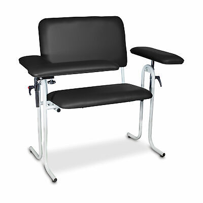 Upholstered Blood Draw Chair Wide Black Flip Arm 1 Ea