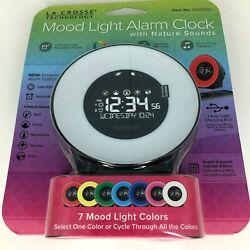 La Crosse Technology Mood Light Alarm Clock 7 Colors Nature Sounds Brand New